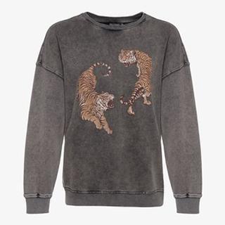 washed dames sweater met tijgers