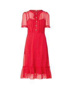 L.K.Bennett Malami midi jurk van zijde met ruches en stippenprint