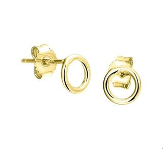Geelgoud op Zilveren Oorknoppen rondje 2100683