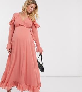 ASOS DESIGN Zwangerschap kleding- Lange wikkeljurk met strook en wijd uitlopende mouwen in roze