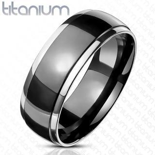 Smooth - Zwarte glimmende dames en heren ring van titanium