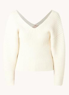Pullover met ribstructuur en V-hals