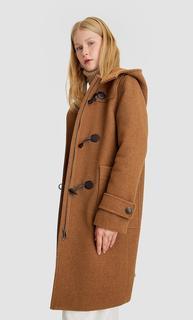 Lange wollen jas , Beige polyester,wol,andere vezels,