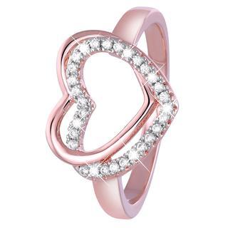 Eve roseplated ring dubbel hart met zirkonia