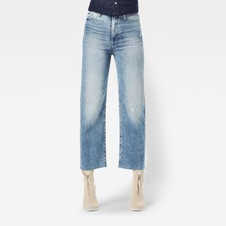 Tedie Ultra High Straight Ripped Edge Ankle Jeans - Straight Fit - Taillehoogte Ultrahoog