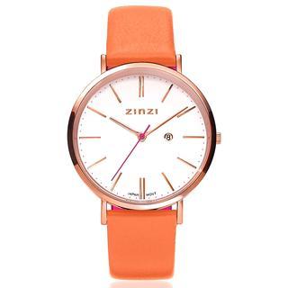 Retro horloge witte wijzerplaat roségoudkleurige stalen kast lerenband oranje 38mm extra dun ZIW408O