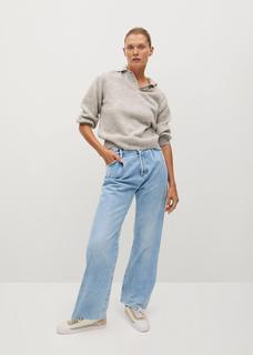 High-waist Wideleg bandplooi-jeans