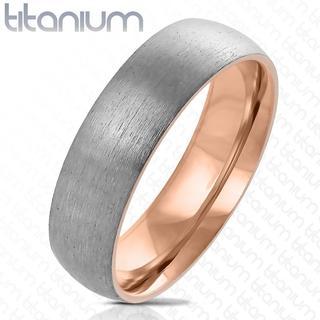 Dome - Zilveren dames ring van titanium met roségoud