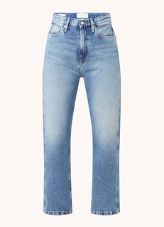 High waist straight fit cropped jeans met medium wassing