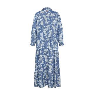 gebloemde maxi blousejurk blauw/wit