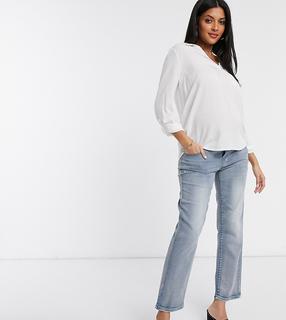 Mamalicious -Zwangerschapskleding - Mom jeans in blauw met lichte wassing