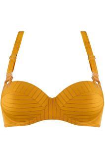 Gloria Plunge Balconette Bh   Wired Padded Dark Yellow And Gold