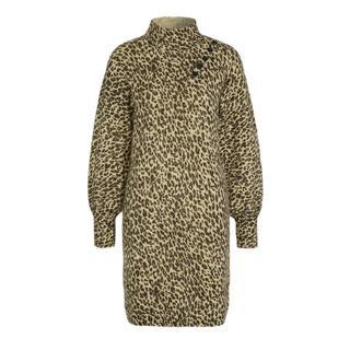 jurk Dress leopard Asym closure met panterprint print