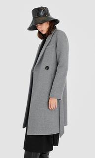 Wollen jas met ceintuur DAMES Middengrijs L