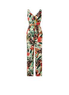 Wide fit jumpsuit van crêpe met bloemenprint
