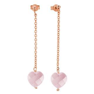 Eve rose plated oorbellen hangers met roze hart