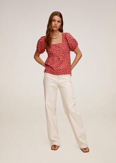 Gebloemde katoenen blouse