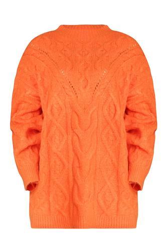 zwarte zachte trui van wol mix met pof mouwen sheryl knit