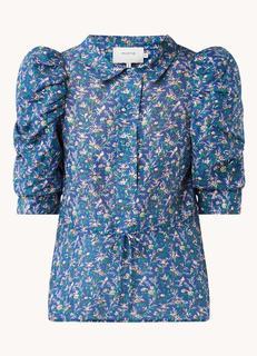 Tassel blouse in zijdeblend met pofmouw