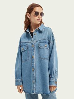 Oversized denim shirtjack