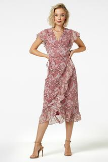 Rosy midi flower midi dress short sleeve