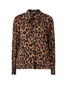 Blouse met luipaard print en strikkraag