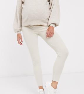 ASOS DESIGN Maternity - Geribbelde legging met brede tailleband-Crème