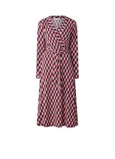 Midi jurk met strikceintuur en grafische print