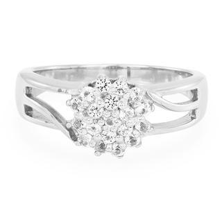 Zilveren ring met witte topaasstenen