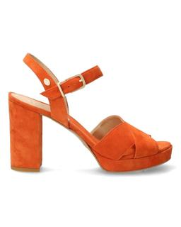 Oranje suède sandalet