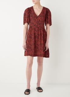 Mini jurk met V-hals en bloemenprint