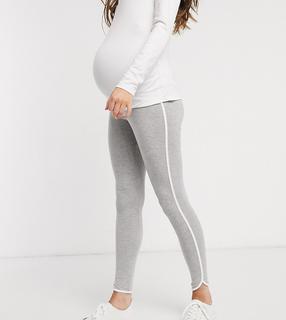 ASOS DESIGN Maternity - Legging met contrasterende biezen-Grijs