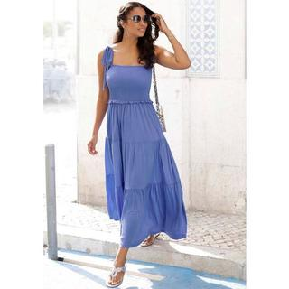 maxi-jurk met breed gesmokt deel