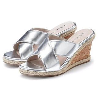 Slippers met hoge hak met sleehak in metallic-look