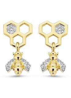 Geelgouden oorsieraden 0-11 ct diamant Queen Bee