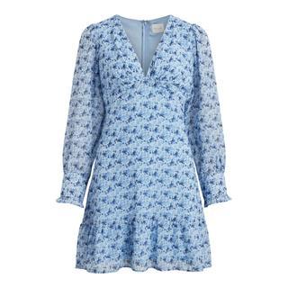 gebloemde jurk VIVALERIA van gerecycled polyester lichtblauw