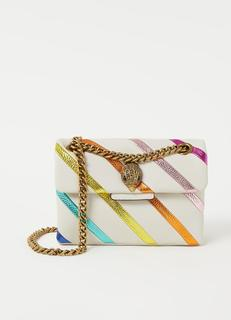 Kensington Mini schoudertas van leer met kleurrijk detail