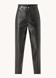High waist tapered fit cropped pantalon van imitatieleer