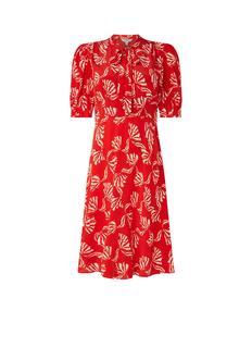 L.K.Bennett Marceau midi jurk van zijde met strikkraag