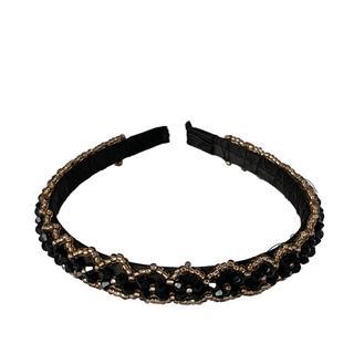 Black Gold Beaded Headband