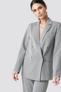 Two Tone Striped Double Breasted Blazer