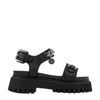 Groov-y Sandal Chain leren chunky sandalen zwart