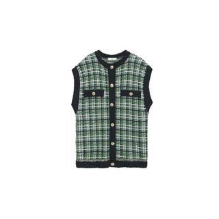 geruite tweed spencer groen/zwart