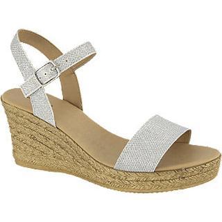 Zilveren sandalette sleehak