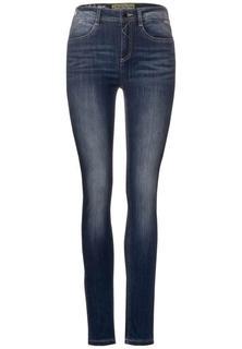 Donkerblauwe spijkerbroek met hoge taille