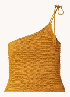 Angola grofgebreide one shoulder crop top van crochet