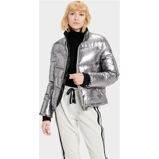 Izzie Puffer Nylon Jas voor Dames in Silver Metallic