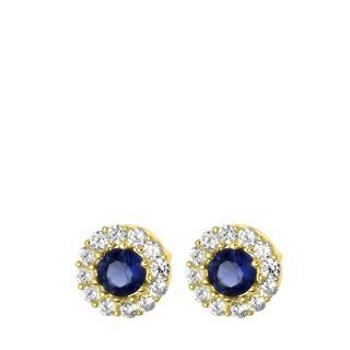 14 karaat geelgouden oorbellen wit&blauwe zirkonia