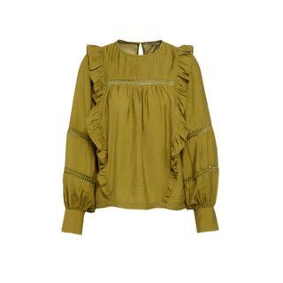 blouse met ruches olijfgroen