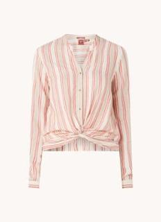 Dana cropped blouse met plooidetail en V-hals